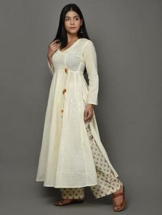 Buy Off White Golden Angrakha Cotton Anarkali Suit - Set of 3 online at Theloom