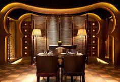 Kebab Kahn Hotel designed by Hirsch Bedner Associates (HBA). Lighting design by Illuminate. Restaurant Lighting, Cafe Restaurant, Restaurant Design, Chinese Restaurant, Linear Lighting, Lighting Design, Decor Interior Design, Interior Decorating, Kebab