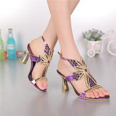 Mujeres zapatos de cuero genuinos de la boda Rhinestone sandalias de tacón alto para mujer las señoras peep toe sandalias cristalinas GS-L004VTC