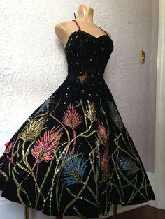 Vintage 50 s Hand Painted Velvet Dress Burlesque Mexican Circle Skirt