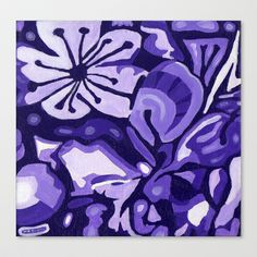 Cherry Blossom in Purple Stretched Canvas by Morgan Ralston - $85.00