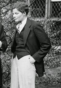 "KATHERINE HEPBURN in the role of Oliver Blayds-Conway for a Bryn Mawr College co-production of ""The Truth About Blayds"" by A. A. Milne, April 1927."