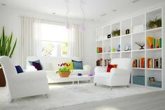 Minimalist Living Room With Shelving Dign