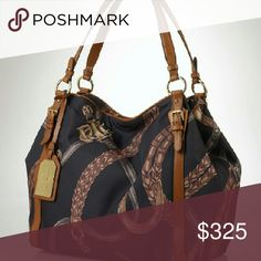 Ralph Lauren Equestrian print bag Flawed inside. Price firm   Black Friday sale from $350 to $150 Ralph Lauren Bags Shoulder Bags