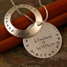 Hand Stamped Jewelry - Sterling Silver Custom Necklace - Always, Forever and no matter what.... $60