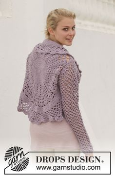 "Crochet DROPS jacket worked in a circle in ""Big Merino"". Size: S - XXXL. ~ DROPS Design"