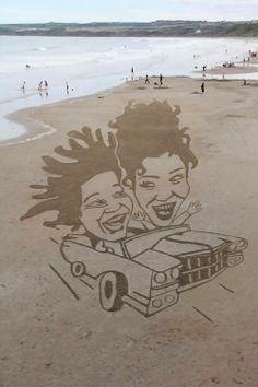 Kum üzerine yaratıcı sanat örnekleri #42maslak #art #sand #creative #interesting