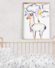 Nursery Pastel LLAMA Print, Nursery Wall Art, Kids Poster, Baby Shower Gift, Kids Birthday Card, Animal Print, Bird with Balloons, Download