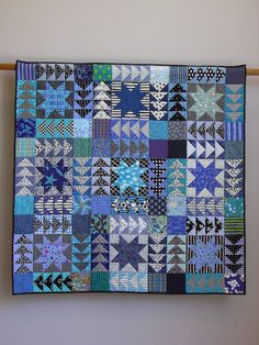 Black And White And Blue All Over wall quilt. $2,000.00, via Etsy.