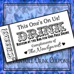 Drink Tickets Diy Wedding Printable Instant Digital Bar Do It Yourself