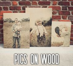 Photos on Wooden Sign. Display your family photos on wood. Unique and Awesome. www.PicsOnWood.com or www.WordsOnWood.com.