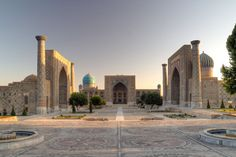 Shir Dar Madresah (Lion's Gate School).  Center for Islamic scholarship,  Samarkand, Uzbekistan.     The second-largest city in Uzbekistan, it is most noted for its central position on the Silk Road between China and the West. Samarkand is one of the oldest inhabited cities in the world, founded c. 738 BC.    Samarkand is  said to be one of the supremely beautıful cities of the world, compared easily with Rome, Paris, New York, London, or Tokyo.