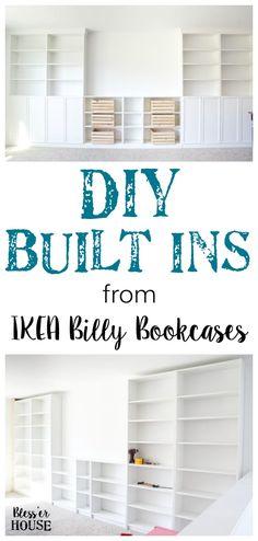 DIY Built Ins from IKEA Bookcases + ORC Week 2 - Bless'er House Ikea Bookcase, Bookshelves Built In, Billy Bookcases, Bookcase White, Diy Built In Shelves, Bookshelf Design, Corner Shelves, Floating Shelves, Cheap Bookshelves