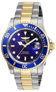 Invicta Men's Pro Diver Quartz Watch with Stainless Steel Strap, Two Tone, 20 (Model: Best Watches For Men, Cool Watches, Wrist Watches, Men's Watches, Luxury Watches, Breitling Watches, Amazing Watches, Stylish Watches, Stainless Steel Watch