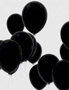 black, balloons, and black and white