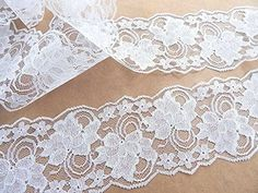 4' Wide Lace Trim White Lace Wedding Flat Lace, Table runner, Crafts, Sewing Polyester 5 Yards -- You can find more details by visiting the image link.