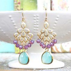 Shiva Orchid Aqua Chandelier Earrings - Final Sale TT14