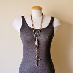 Reclaimed vintage cross pendant and christian charm by jarka, $139.00