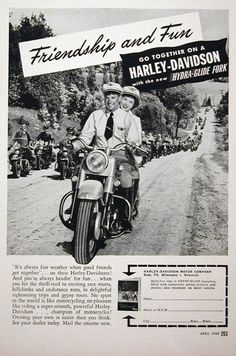 1949 Harley Davidson Motorcycle original vintage ad. Friendship and fun go together on a Harley Davidson with the new Hydra Glide fork. No sport in the world is like motorcycling.