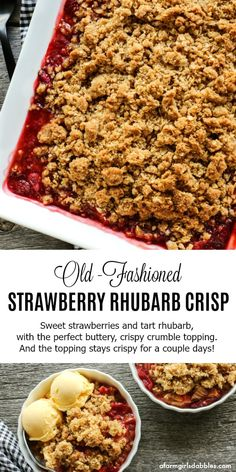 Old-Fashioned Strawberry Rhubarb Crisp from afarmgirlsdabbles.com - This spring treat is sweet with strawberries, with a touch of tart from rhubarb. An extra-thick buttery oats topping provides the perfect contrast. #strawberry #strawberries #rhubarb #crisp #spring #baking #strawberryrhubarbcrisp
