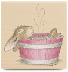 The Bunny enjoying an Easter Spa Treatment ~ House Mouse Wood Mounted Rubber Stamp-Bunny Bath House Mouse Stamps, Bad Bunny, Bunny Art, Bunny Book, Rabbit Art, Wood Stamp, Kawaii, Penny Black, Cute Illustration