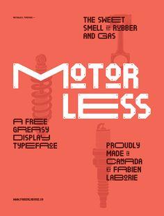 Motorless free font by Fabien Laborie, via Behance