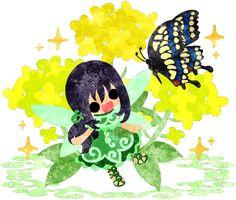 春のフリーのイラスト素材可愛い妖精と綺麗な菜の花と蝶  Free Illustration of spring Pretty fairy and beautiful brassica and butterfly   http://ift.tt/2mHK8F4