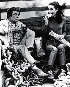Albert Finney and Audrey Hepburn on the set of 'Two For The Road', 1967.