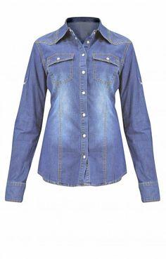 Γυναικείο πουκάμισο denim   Πουκάμισα jeans - Jeans & Demims - Denim Πουκάμισα, Denim Button Up, Button Up Shirts, Jeans, Jackets, Tops, Fashion, Down Jackets, Moda