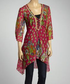 Look at this #zulilyfind! Fucshia & Lime Green Paisley Sidetail Tunic #zulilyfinds