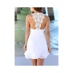 White Crochet Lace Back Chiffon Dress ❤ liked on Polyvore featuring dresses, white lace crochet dress, braid dress, white color dress, woven dress and white lace back dress