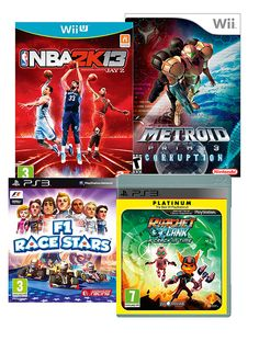 Konsolinet. PS3, XBOX 360, Wii & Wii U-pelejä. Esim. Colin McRae Dirt 2, Ratchet & Clank Crack in time, NBA 2K13 10 €/kpl (69,95 €)