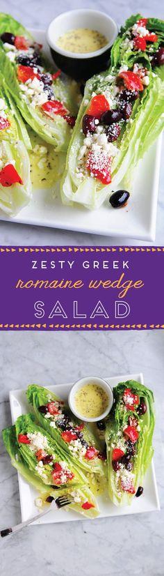 Easy Recipes: Zesty Greek Romaine Wedge Salad So perfect for summer!So perfect for summer! Vegetarian Recipes, Cooking Recipes, Healthy Recipes, Easy Recipes, Healthy Snacks, Healthy Eating, Wedge Salad, Snacks Saludables, Greek Recipes