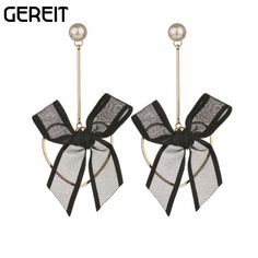 Aliexpress.com : Buy GEREIT Newest Jewelry Bow Tie Sweet Dangle Earrings For Women Girls Brincos With Simulated Pearl Korean Heart Shape Accessories from Reliable dangling earrings for women suppliers on Shop2191090 Store