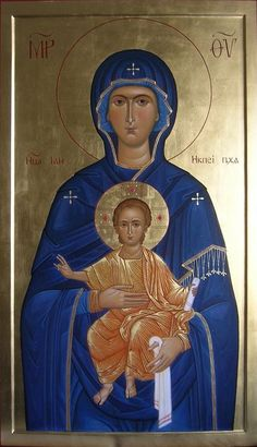 Holy Mother Icon of the Nikopeia style / Jumalanäiti Byzantine Icons, Byzantine Art, Blessed Mother Mary, Blessed Virgin Mary, Religious Icons, Religious Art, Christian Art, Christian Prayers, Greek Icons