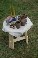 "A lovely small side table, about 22x22"". It would work in a bungalow, and my SCA camp just as well."