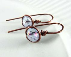 Wire Wrapped Earrings Copper Jewelry Lilac Purple by PolymerPlayin, $22.00