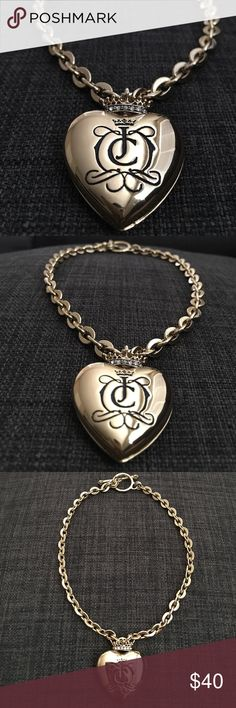 Puffed heart toggle necklace Shiny gold. Comes with box. Juicy Couture Jewelry Necklaces