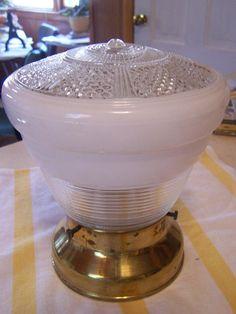 Vintage Semi Flush Ceiling Fixture Complete Brass Cap