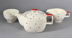 https://flic.kr/p/cEFojd | 'Red Domino variant' by Jessie Tait for Midwinter Pottery | Cute little teapot, 1950's, in a happy variant of 'Red Domino'. Jessie Tait was by no means the first person to decorate tableware with spots of colour, but she got them the right size and added a tactile element with the dots standing proud, and it worked like a storm in the 1950's.