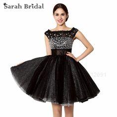 c03f80e40b2 Короткие Bling Crystal Выпускные платья Черный Тюль Модные прозрачные  черные кружевные нарядные платья для девочек выпускников