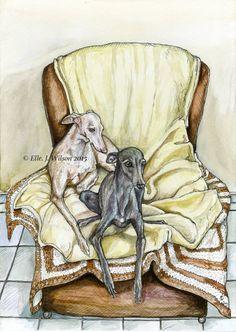 Print Art chien lévrier italien