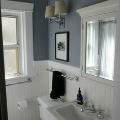I like the wainscotting and paint color.  Perfect for my basement!!!  ?englewood cliffs benjamin moore