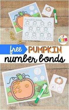 A fun hands-on way to work on math this fall that preschool and kindergarten kids will love! A great way to work on on counting from Just print, laminate, grab some playdough and you are ready to go! Math Activities For Kids, First Grade Activities, Autumn Activities, Number Activities, Counting Activities, Centers First Grade, Second Grade Math, Math Centers, Halloween Math