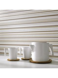 Barcode Linear Striped Wallpaper - Designer Stripes Wall Coverings by Graham Brown Beige Wallpaper, Striped Wallpaper, Bathroom Wallpaper, Makeover Tips, Graham Brown, Designer Wallpaper, Home And Garden, Kitchen, Cucina
