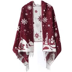 Chicnova Fashion Snowflake Jacquard Scarf ($14) ❤ liked on Polyvore featuring accessories, scarves, tassel scarves, oblong scarves, long shawl, fringe shawl and fringe scarves