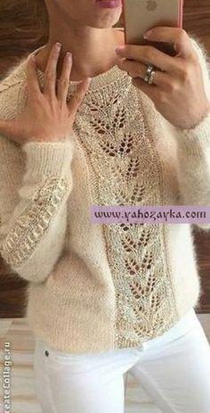 Пуловер из мохера с красивым узором по центру