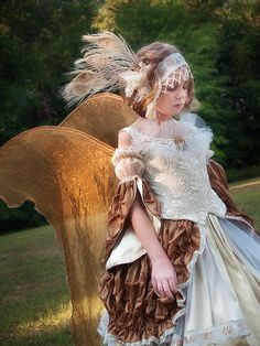 Gilded Renaissance Fairy Gown Costume Girls Sz 8-12 by VintageDuck
