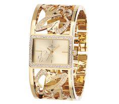 #Reloj con caja y brazalete chapado en #oro especial I.P.G. #brazalete #dorado #mariposa