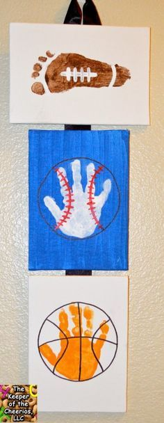 Baseball, football, basketball sports themed art project for kids Great handprint crafts for home, preschool, or daycare Makes a great father's day gift Dad will love the home made picture! is part of Vbs crafts - Vbs Crafts, Daycare Crafts, Toddler Crafts, Crafts To Do, Preschool Crafts, Crafts For Kids, Arts And Crafts, Kids Sports Crafts, Infant Crafts